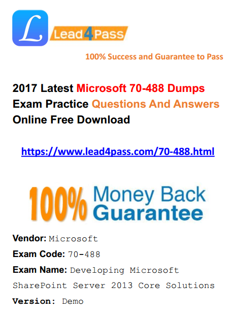 [High Quality Microsoft Questions] Latest 70-488 Dumps Microsoft PDF Practice Materials And Dumps VCE Youtube