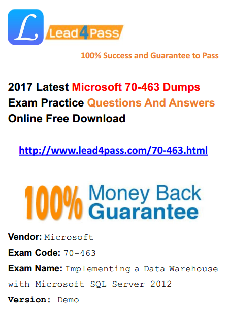 [High Quality Microsoft Questions] Microsoft 70-463 Dumps Latest PDF Practice Files And VCE Youtube