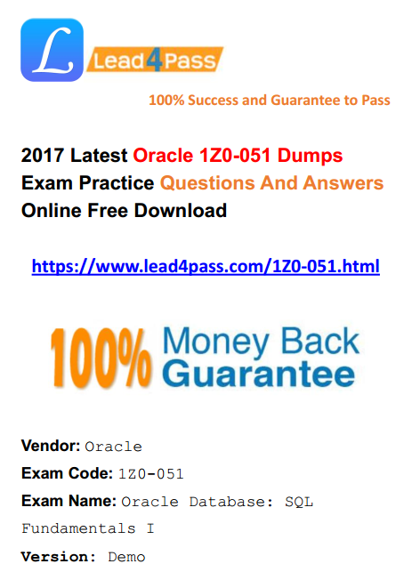 [High Quality Oracle Questions] 2017 Latest 1Z0-051 Dumps Oracle Exam Youtube And PDF Practice Files