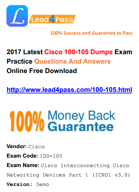 [High Quality Cisco Dumps] Latest 100-105 Dumps Cisco Exam Questions And Answers Update Youtube Demo