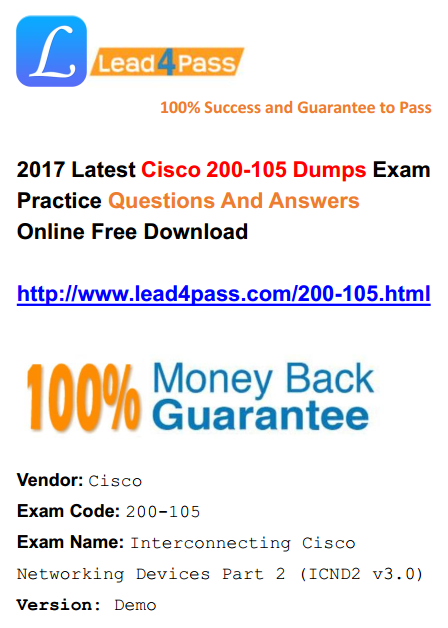 [High Quality Cisco Dumps] High Quality Cisco 200-105 Dumps PDF Training Materials And Youtube Free Try Update