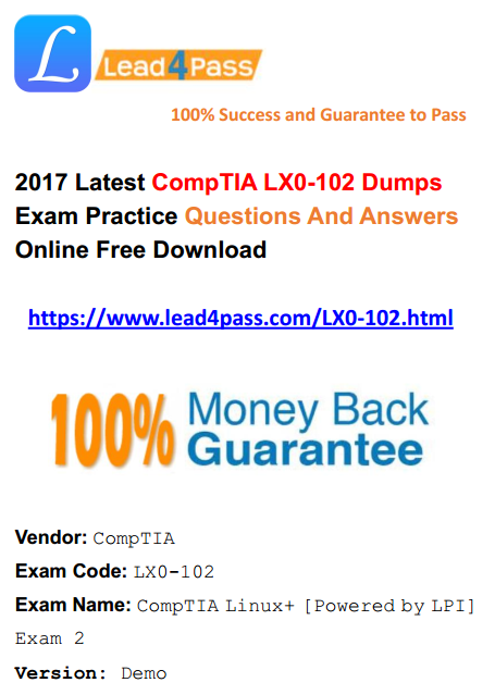 [High Quality Cisco Dumps] Update Latest CompTIA Linux+ LX0-102 Dumps Exam Materials And Youtube Free Demo