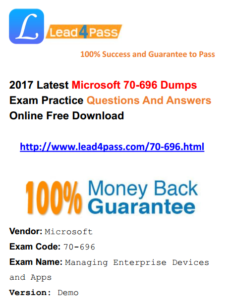 [High Quality Microsoft Questions] Latest Microsoft 70-696 Dumps Exam Materials And VCE Youtube Demo Free Update