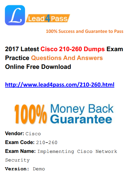 [High Quality Cisco Dumps] The Best Lead4pass 210-260 Dumps Cisco Exam Materials And Youtube Free Update