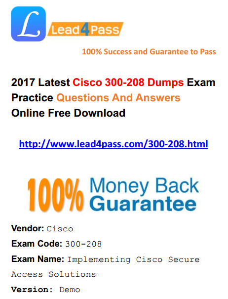 [High Quality Cisco Dumps] What is the Best Cisco CCNP Security 300-208 Dumps Exam Update Youtube Demo