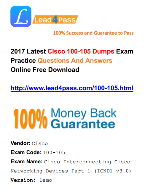 [High Quality Cisco Dumps] Best Cisco ICND1 100-105 Dumps Exam Training Resources And Youtube Demo (Q11-Q30)