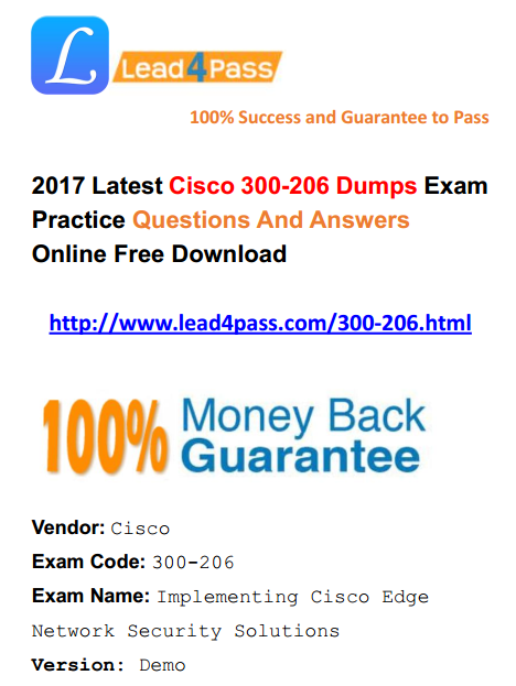 [High Quality Cisco Dumps] Latest Cisco CCNP Security 300-206 Dumps Exam Questions And Answers Update Free Shared
